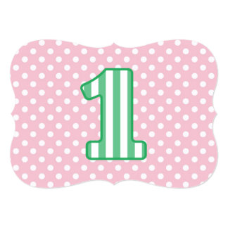 Baby's 1st Birthday Custom Name Stripes and Dots 5 Card