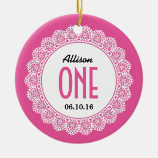 Baby's 1st Birthday Memento Pink with Lace B01 Ceramic Ornament