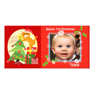 Baby's 1st Cat Lover  Christmas Photo Card