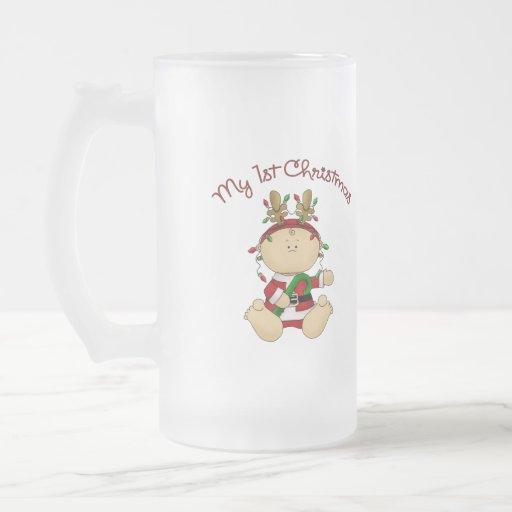 Babys 1st Christmas 16 Oz Frosted Glass Beer Mug