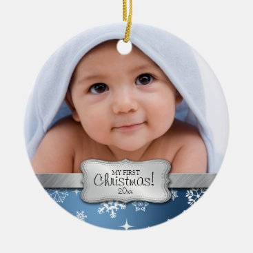 Toddler & Baby themed Baby's 1st Christmas.  Add your photo Ceramic Ornament