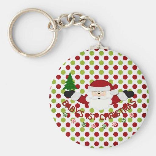 Babys 1st Christmas Basic Round Button Keychain