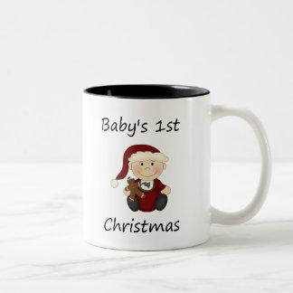 Baby's 1st Christmas (boy) Two-Tone Coffee Mug