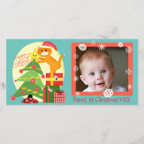 Baby's 1st Christmas Cat and Tree Photo Card