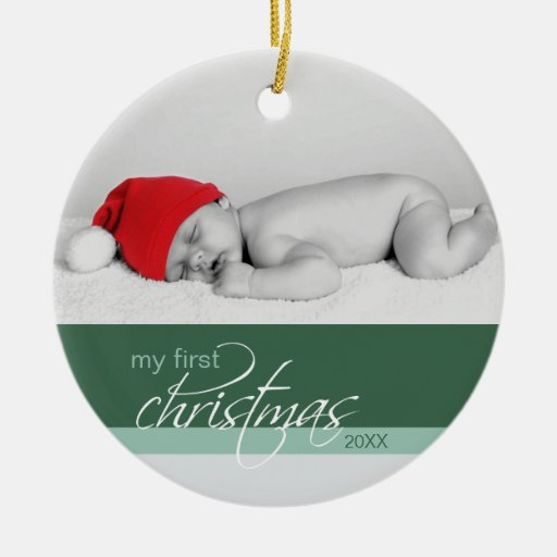 Baby's 1st Christmas Custom Ornament (green 2)