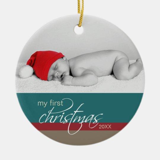 Baby's 1st Christmas Custom Ornament (teal)
