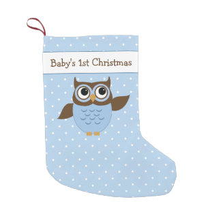 Baby's 1st Christmas Cute Owl Small Christmas Stocking