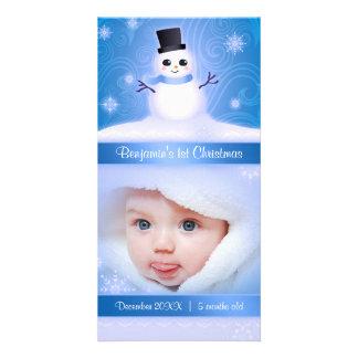 Baby's 1st Christmas Cute Snowman Blue Photo Card
