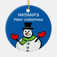 Baby's 1st Christmas Cute Snowman Personalized Ceramic Ornament at Zazzle