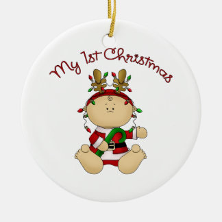 Babys 1st Christmas Double-Sided Ceramic Round Christmas Ornament
