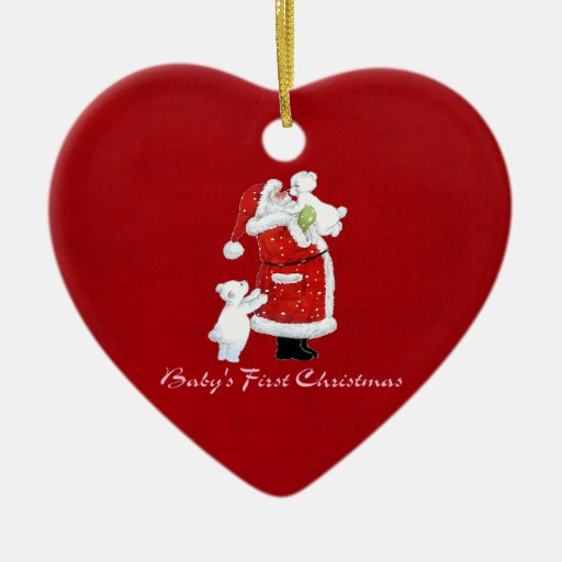 Babys 1st Christmas Double-Sided Heart Ceramic Christmas Ornament