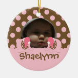 Baby's 1st Christmas Elephant Ornament-pink/brown