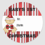 Baby's 1st Christmas gift tag Classic Round Sticker