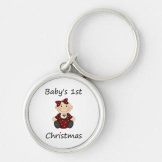 Baby's 1st Christmas (girl) Keychain