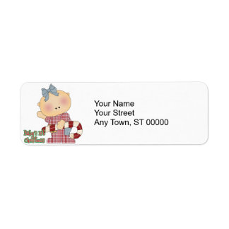 babys 1st christmas girl return address label