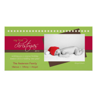 Baby's 1st Christmas Holiday Photocard (green) Photo Card Template