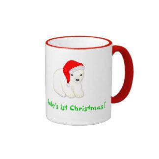 Baby's 1st Christmas Mug with Polar Bear Santa