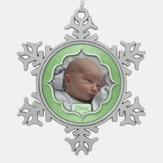 Baby's 1st Christmas or ANY PHOTO Green Snowflake Snowflake Pewter Christmas Ornament