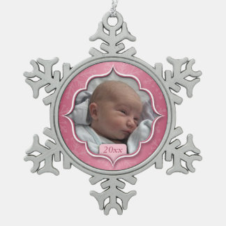 Baby's 1st Christmas or ANY PHOTO Pink Snowflake Snowflake Pewter Christmas Ornament