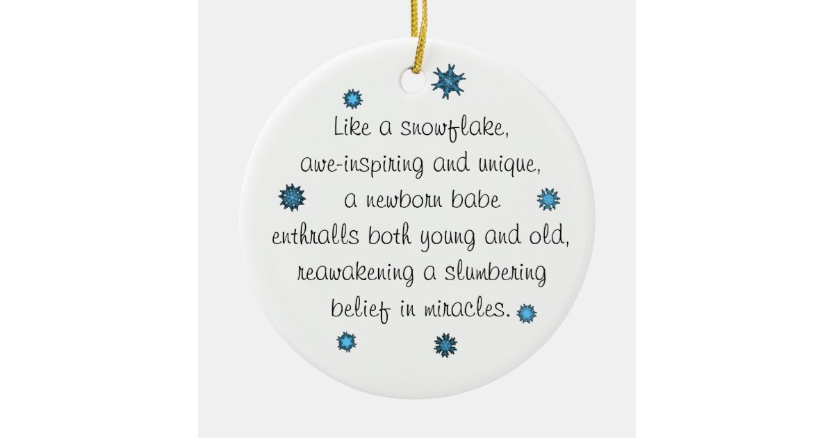 Baby s st christmas ornament blue snowflake poem zazzle