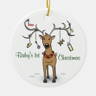 Baby's 1st Christmas Ornament - Reindeer Photo