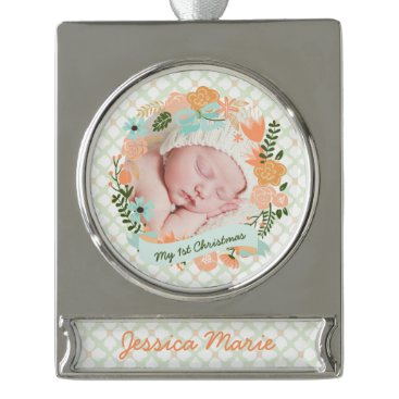 Christmas Themed Baby's 1st Christmas Peach Mint Wreath Photo Silver Plated Banner Ornament