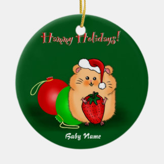 Baby's 1st Christmas Personalized Hamster Cartoon Ceramic Ornament
