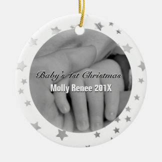 Baby's 1st Christmas Personalized Parent Hands Christmas Ornaments