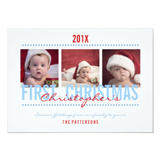 Baby's 1st Christmas Photo Card for Baby Boy