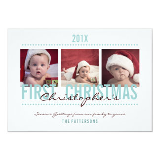 """Baby's 1st Christmas Photo Card for Baby Boy 5"""" X 7"""" Invitation Card"""