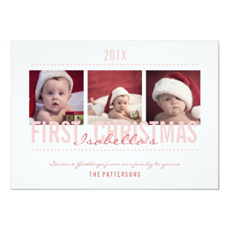 """Baby's 1st Christmas Photo Card for Baby Girl 5"""" X 7"""" Invitation Card"""