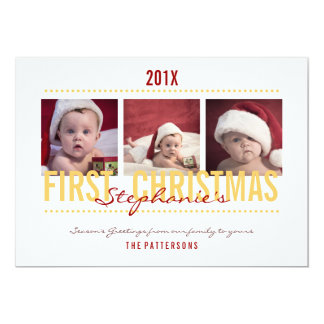 """Baby's 1st Christmas Photo Card for Baby 5"""" X 7"""" Invitation Card"""