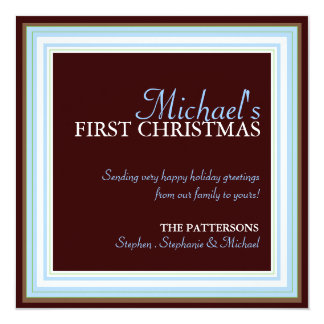 Baby's 1st Christmas Photo Card in Blue & Brown