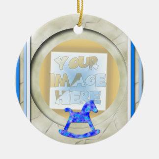 Baby's 1st Christmas Photo Frame: Blue Ceramic Ornament