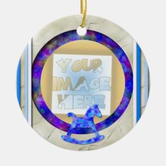 Baby's 1st Christmas Photo Frame, Blue Ceramic Ornament