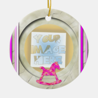 Baby's 1st Christmas Photo Frame: Pink Ceramic Ornament