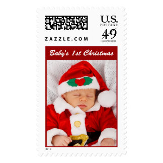 Babys 1st Christmas Photo Stamps Design Your Own