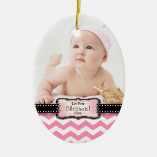 Baby's 1st Christmas. Pink and White Chevron Ceramic Ornament