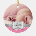 Baby's 1st Christmas.  Pink and White Snowflakes Christmas Tree Ornaments