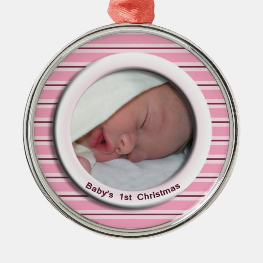 Babys 1st Christmas Pink Striped Photo Metal Ornament