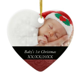 Baby's 1st Christmas Red Swirl Photo Christmas Ornament