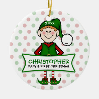 Baby's 1st Christmas (redhead) Elf Boy1 Double-Sided Ceramic Round Christmas Ornament