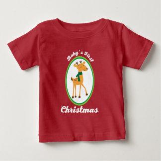 Babys 1st Christmas Reindeer Holiday Tshirt