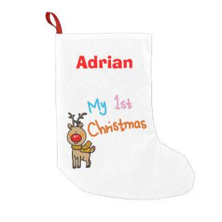 baby's 1st Christmas (reindeer) - name customized Small Christmas Stocking