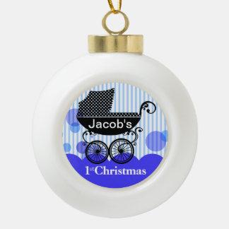 Baby's 1st Christmas Retro Carriage | blue Ceramic Ball Christmas Ornament