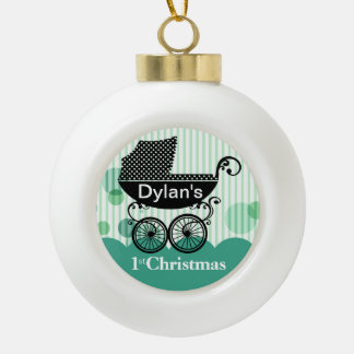 Baby's 1st Christmas Retro Carriage | mint Ceramic Ball Christmas Ornament