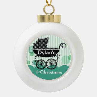 Baby's 1st Christmas Retro Carriage | mint Ceramic Ball Christmas Ornament