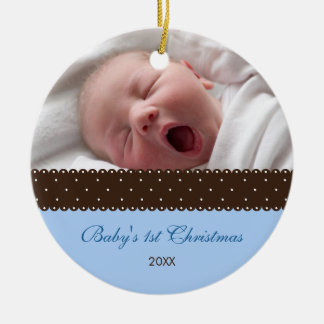 Baby's 1st Christmas - Ribbon (blue) Double-Sided Ceramic Round Christmas Ornament