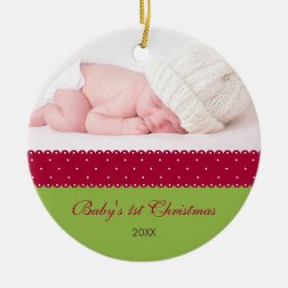 Baby's 1st Christmas - Ribbon (green) Ceramic Ornament