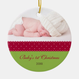 Baby's 1st Christmas - Ribbon (green) Double-Sided Ceramic Round Christmas Ornament